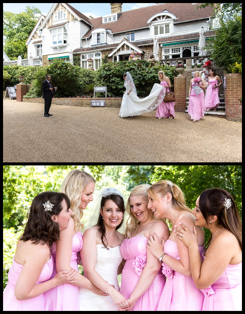 Bride and bridesmaids walking out of the hotel to meet the father of the bride.jpg