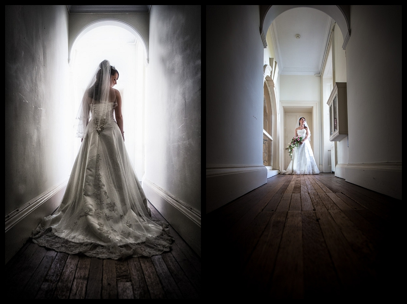 Stunning full length bridal portrait at Addington Palace by Cambridge Wedding Photographer Peter Denness.jpg