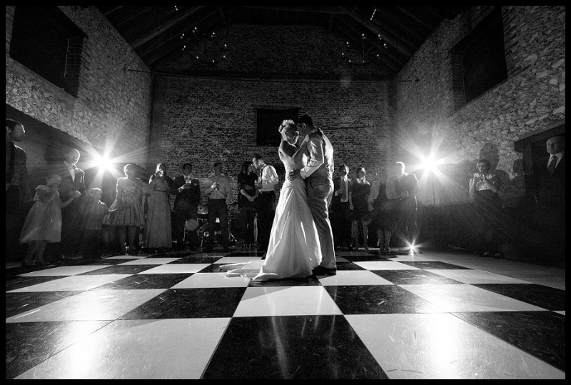 romantic wedding photography of first dance at the granary estates