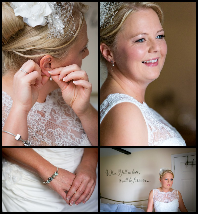 A bride getting ready at the Granary Cottage