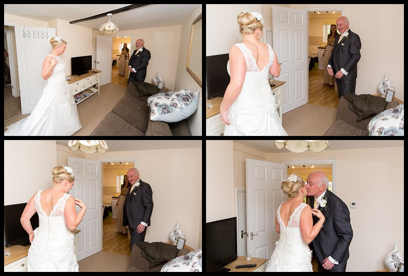 father of the bride seeing her in her dress for first time