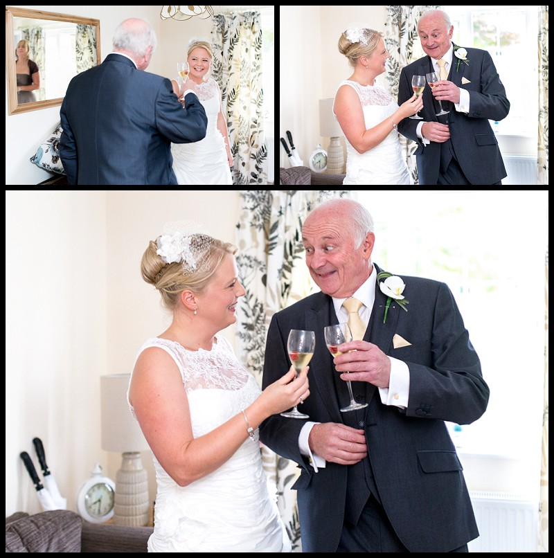 Bride and father drinking champagne at the Granary cottage