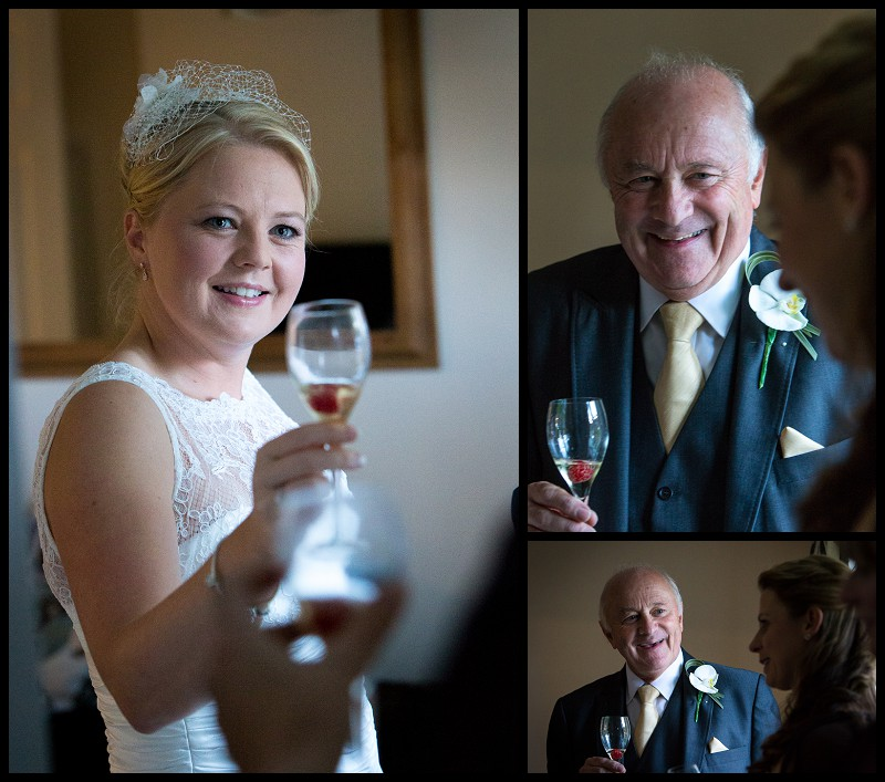 bride and father with champagne