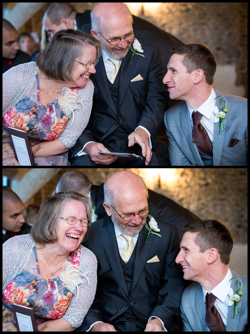 groom and parents sharing a joke at the granary barns