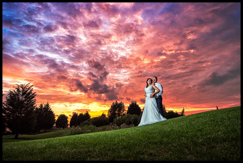 Bride and Groom at Sunset, Romantic wedding photography at Channels Golf Club in Essex