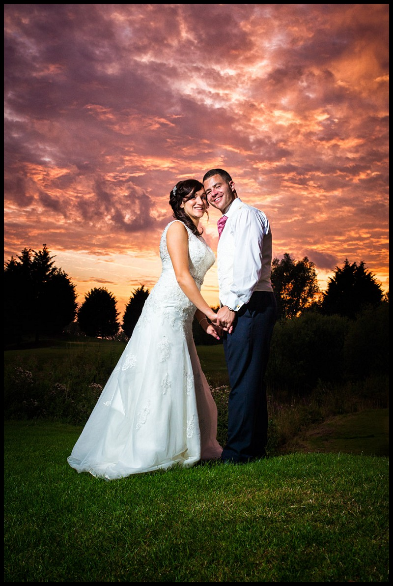 Bride and Groom at Sunset, Romantic wedding photography at Channels Golf Club