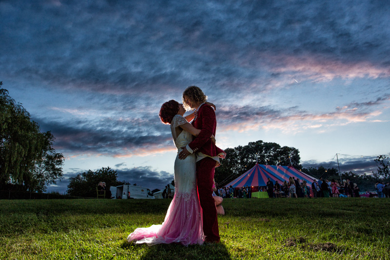 A stunning portriat of the bride and groom captured at sunset. Such a beautiful, creative couple!