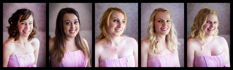 A photo of a bridesmaid in a pink dress smiling lit by natural light.jpg