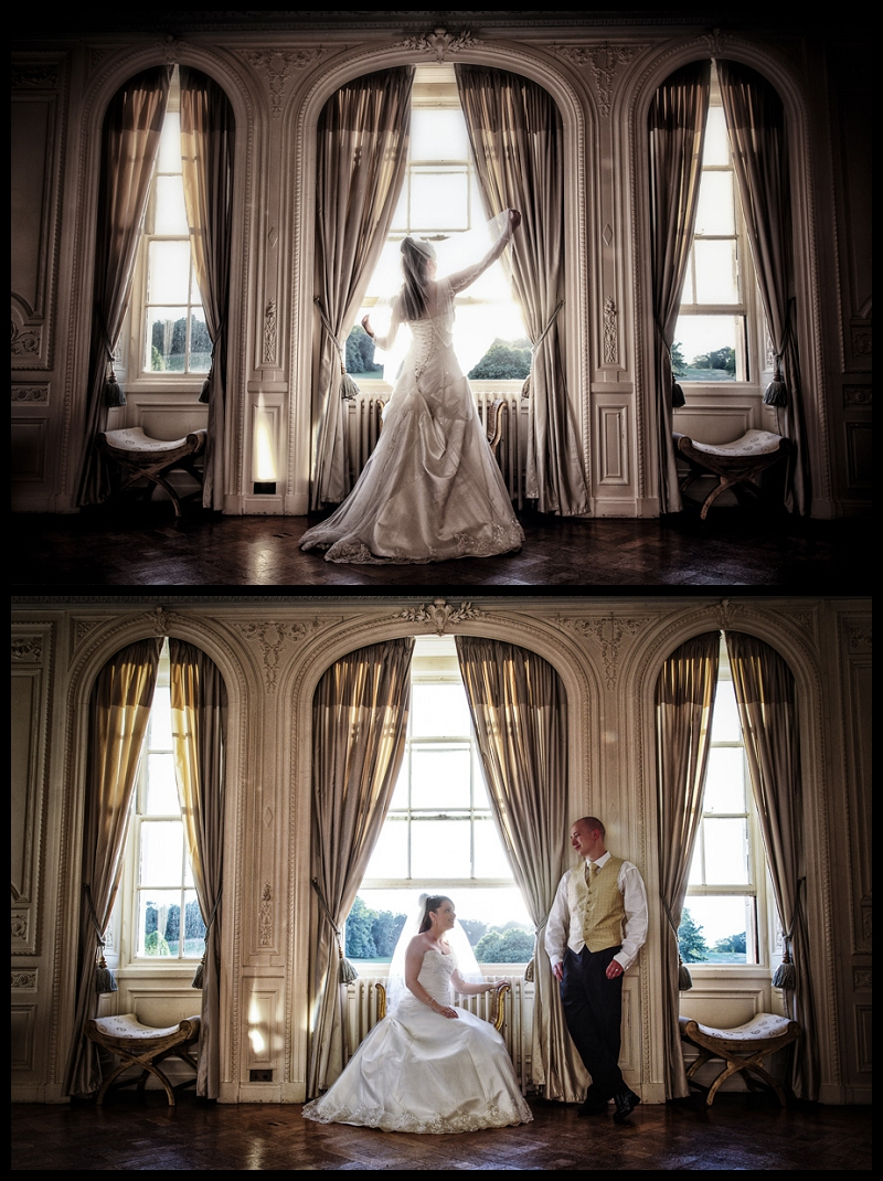 Stunning, dramatic portrait of bride in front of window at Addington Palace by wedding photographer Peter Denness.jpg