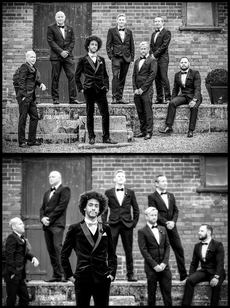 cool stylish photo of groom and groomsmen at smeetham hall barn