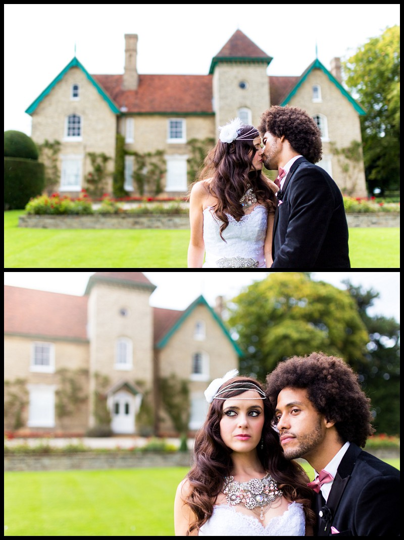 mixed race bride and groom outside smeetham hall