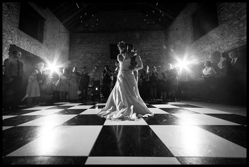 beautiful wedding photography of first dance at the granary barns