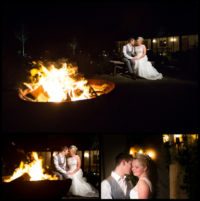Romantic wedding Photos of bride and groom. Taken next to fire pit at the Granary Barns