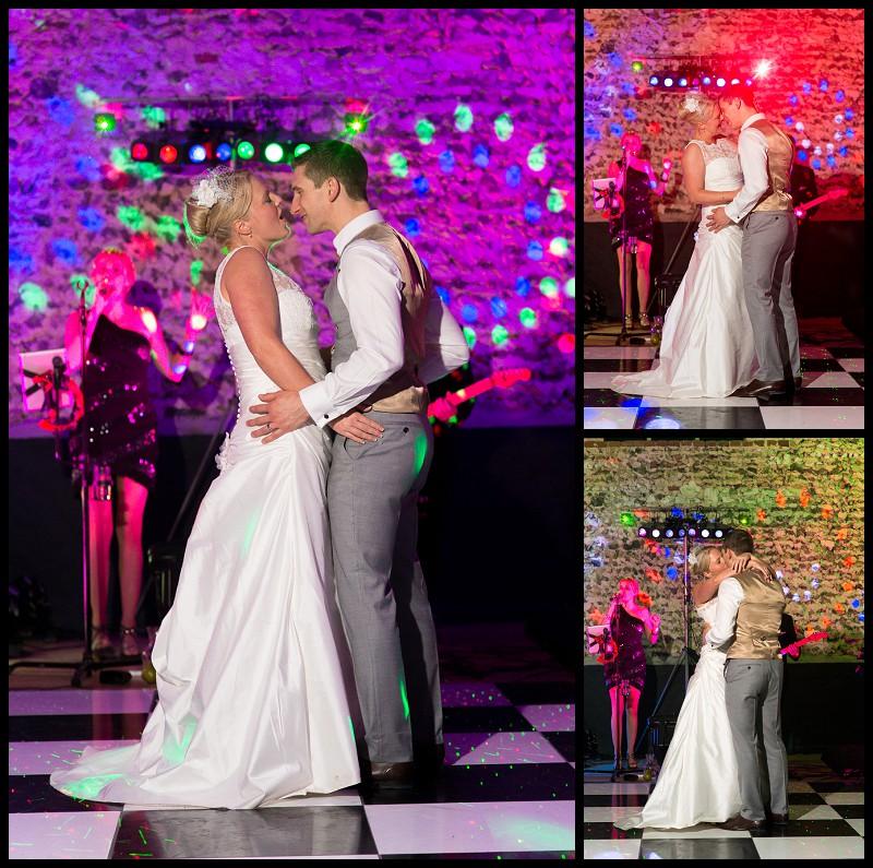 bride and groom dancing at the Granary Barns