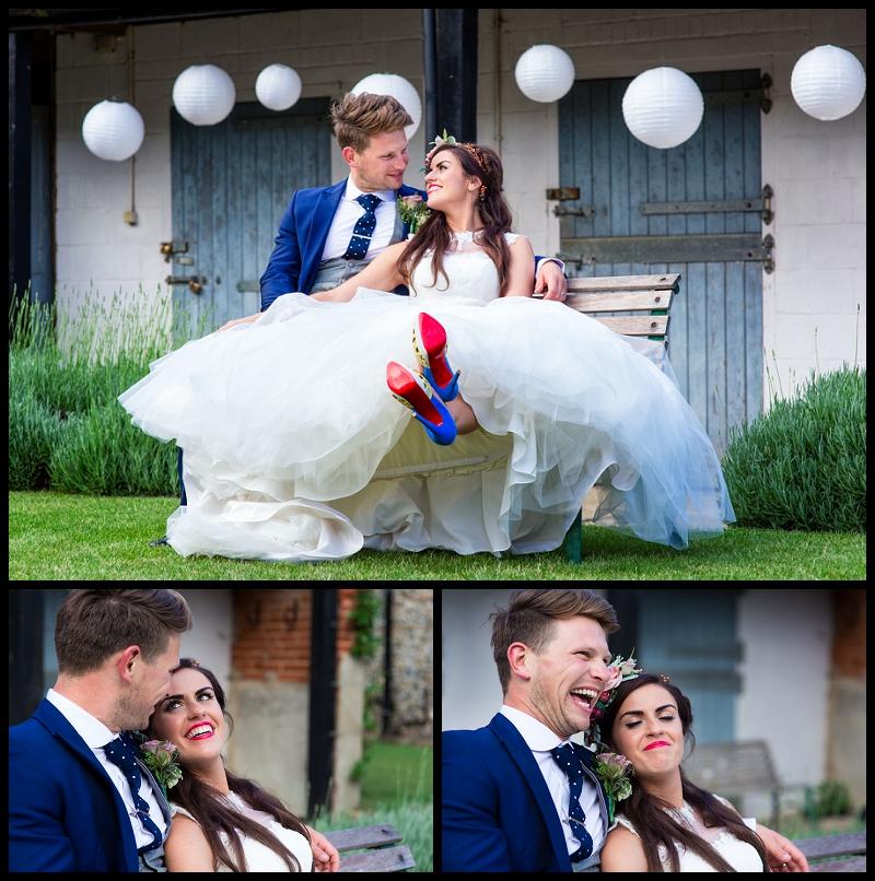 bride and groom at wedding at granary barns