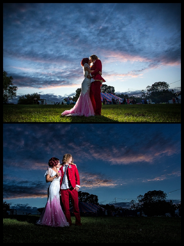 Amazing wedding photos of bride and groom at carnival themed wedding
