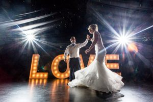 First dance in front of LOVE sign at a Chippenham Park Wedding