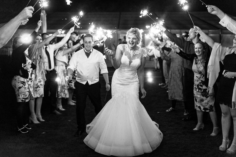 Sparkler exit at a Chippenham Park Wedding