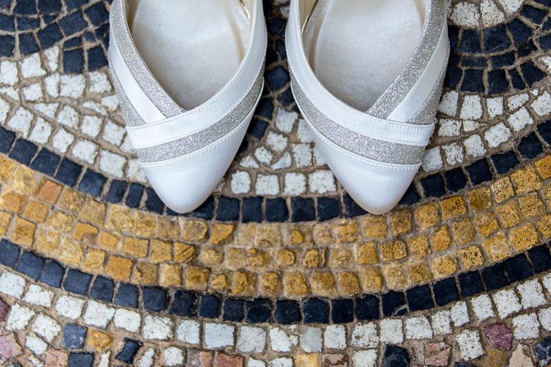 wedding shoes on mosiac floor