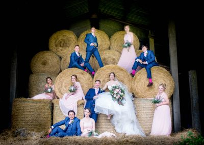 Bridal Party in Hay Barn at Norfolk Country Wedding