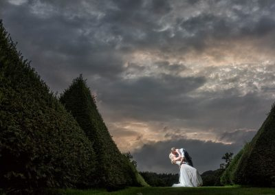Chaucer Barn Wedding Bride and Groom near Hedges