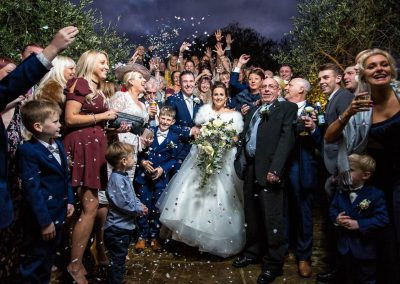 Confetti at Tuddenham Mill wedding
