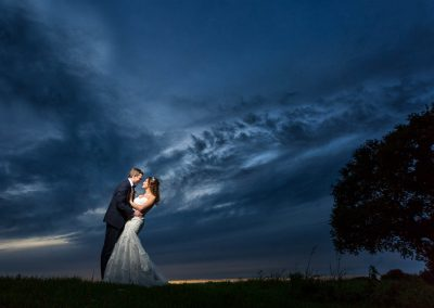 Granary Barns Wedding Bride and Groom at Sunset