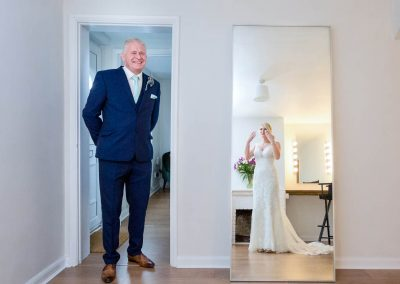 Granary Barns Wedding Father sees bride for first time