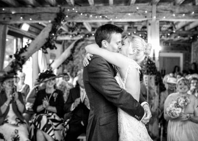 Granary Barns Wedding First Kiss