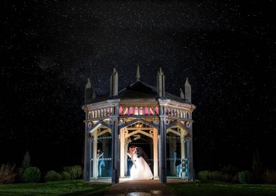 Old Hall Wedding Bride and Groom under stars