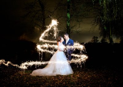 Sparkler shot with bride and groom at Tuddenham Mill Wedding