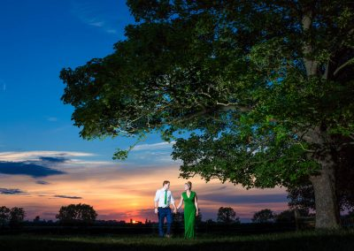 The Manor Barn Wedding Bride and Groom Sunset