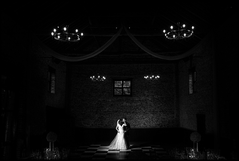 Low Key portrait of Bride and Groom at The Granary Estates