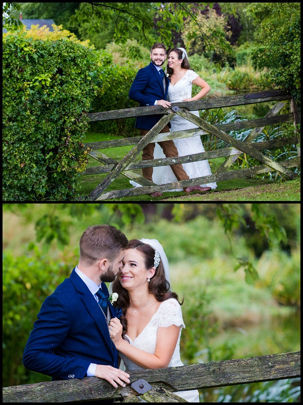 Bride and Groom on rustic gate