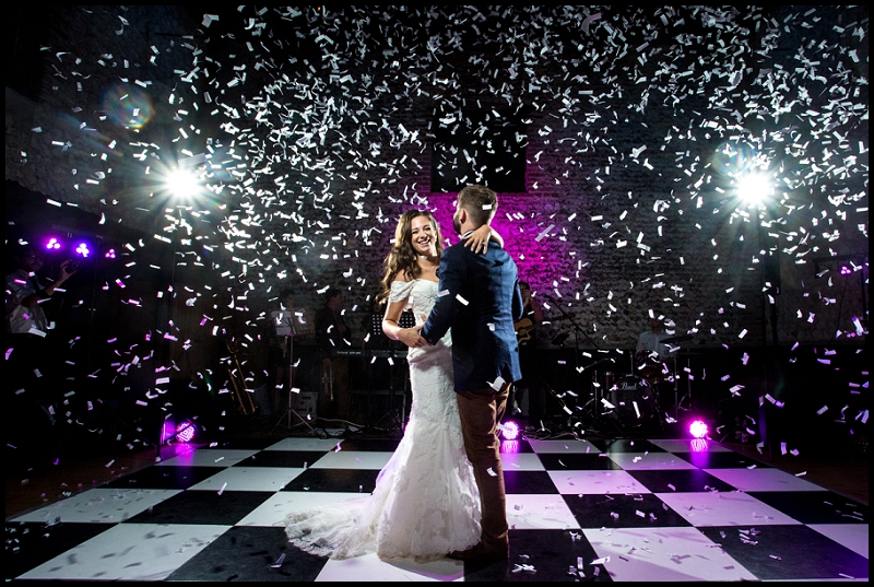 First Dance at The Granary Estates with confetti canons