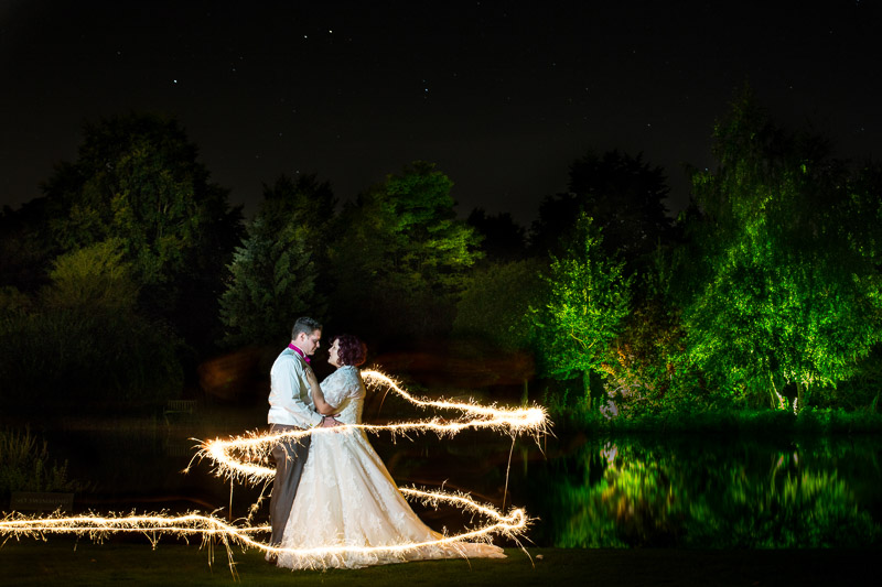 Night time sparkler photo at Chippenham Park Wedding Venue