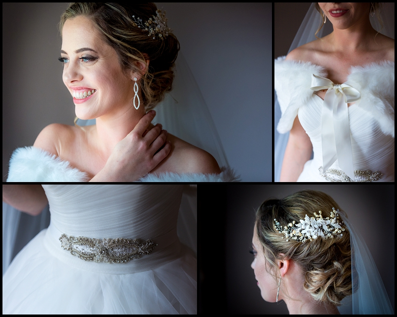 close up details of beautiful bride dress earrings hair pece