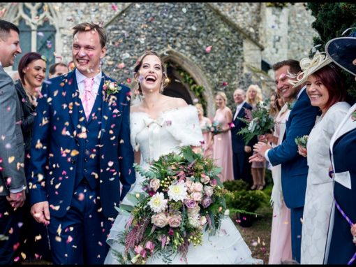 Confetti throw at Norfolk village Church
