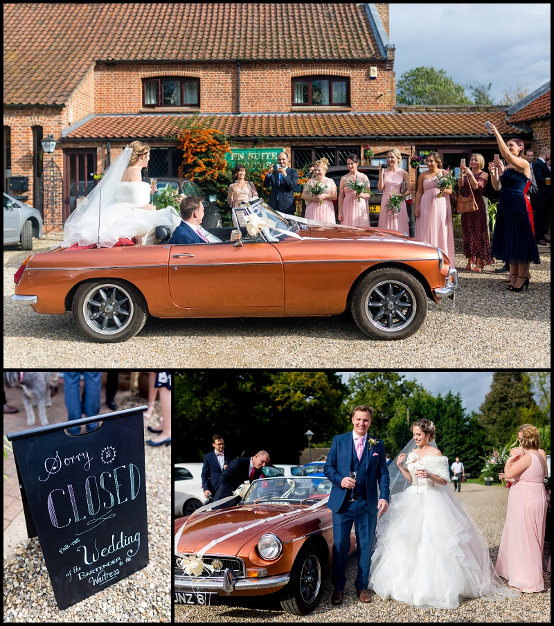 Wedding car outside Norfolk Pub wedding venue