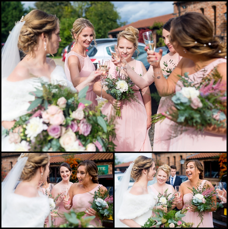 bridesmaids talking to bride