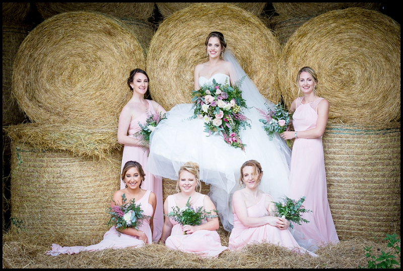 bridal party in hay barn