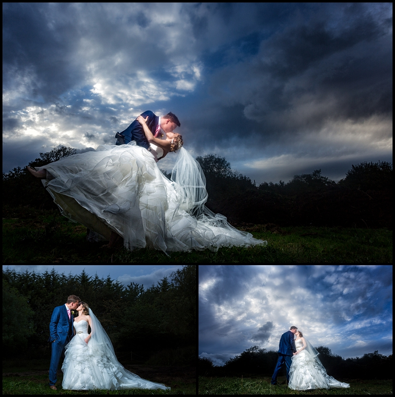 pub wedding dramatic sky with bride and groom in Norfolk