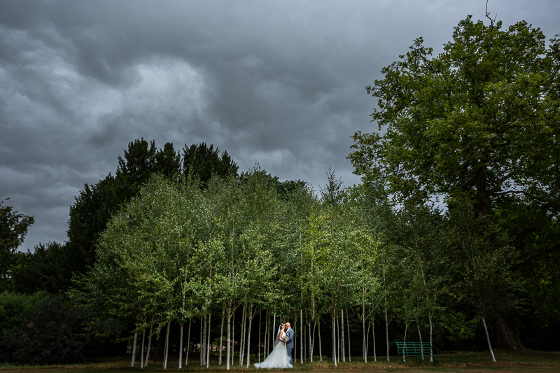 Bride and Groom standing in trees under dramatic cloudy sky