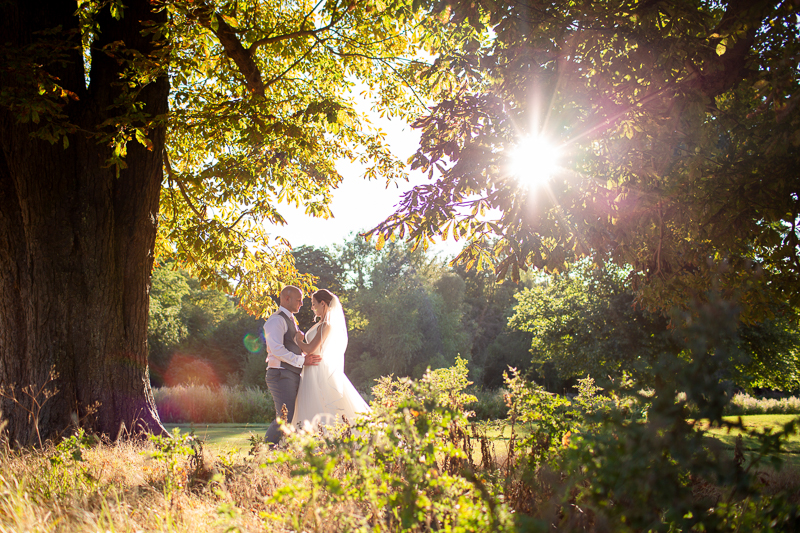 Groom and Bride embracing in foliage with sunlight shining through trees
