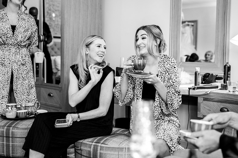 bridesmaids drinking tea