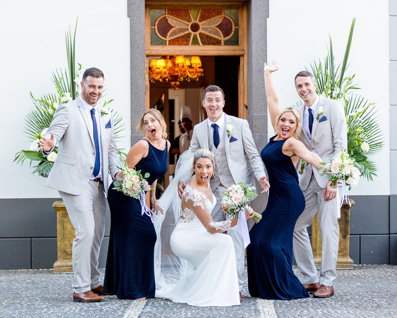 funny photo of bridal party pulling funny faces