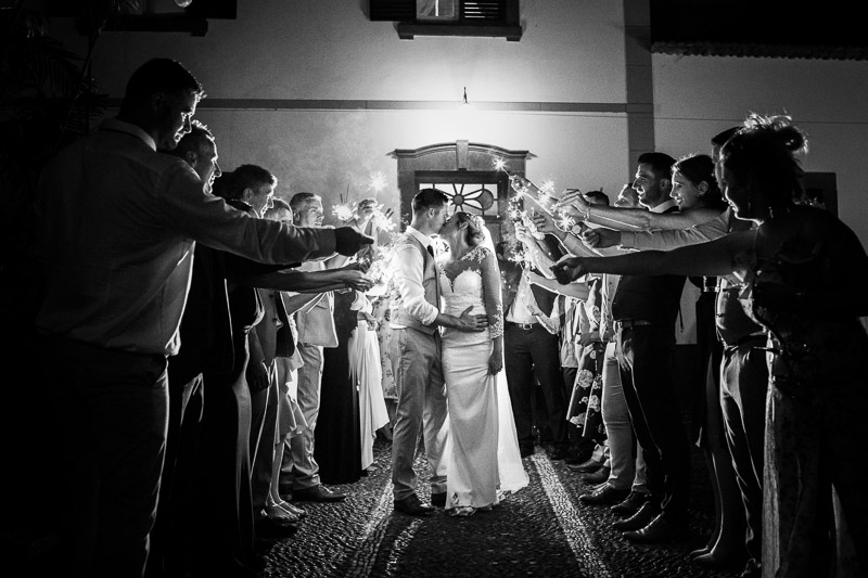 sparkler exit with bride and groom